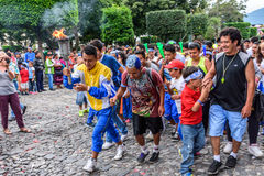 Runners with torch, Independence Day, Antigua, Guatemala Stock Photography