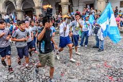 Runners with torches, Independence Day, Antigua, Guatemala Royalty Free Stock Images