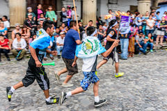 Runners with torches, Independence Day, Antigua, Guatemala Royalty Free Stock Photo