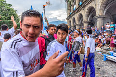 Runners with torches, Independence Day, Antigua, Guatemala Stock Image