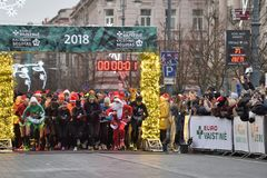 Runners on traditional Vilnius Christmas race stock photography
