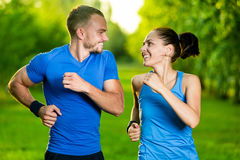 Runners training outdoors working out. City Royalty Free Stock Photography