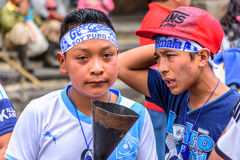 Runners with unlit torch, Independence Day, Antigua, Guatemala Royalty Free Stock Photography