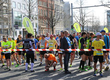 Runners waiting at Hannover Marathon Finish Line Royalty Free Stock Images