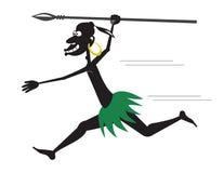 Runnibg аборигенное с копьем и серьгой золота Бесплатная Иллюстрация