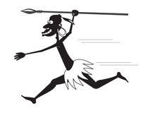 Runnibg аборигенное с копьем и серьгой Бесплатная Иллюстрация