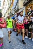 Runnig людей во время гонки высоких пяток Стоковое Изображение