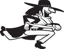 Runnin Renegade. Cartoon of a outlaw running. Black and White. Vector and high res. jpeg files available Stock Images