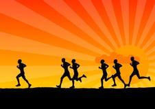 Running. Black silhouette of running men Stock Photos