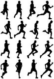 Running. Man black silhouettes, sixteen different postures Stock Image