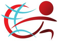 Running. Isolated illustrated logo design stock illustration