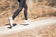 Running. Close up outdoor shot of female runner's legs Royalty Free Stock Photos