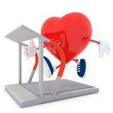 Running. Smily heart running on treadmill - 3D render Royalty Free Stock Photography