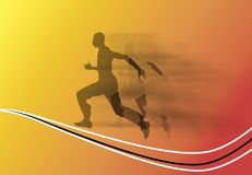 Running. Silhouette of a running man on yellow and orange background royalty free illustration