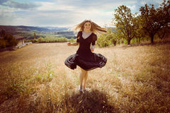 Running across field Royalty Free Stock Images