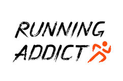 Running Addict Lettering Grunge Words Royalty Free Stock Photos
