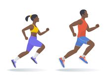 The running afroamerican sporty people set. Flat vector illustra. The running afroamerican active people set. Side view of sporty running young man and woman in Stock Photos