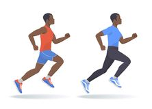 The running afroamerican man set. Flat vector illustration. The running afroamerican man set. Side view of active sporty running young men in a sportswear Royalty Free Stock Images