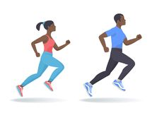 The running afroamerican woman and man set. Flat vector illustra Stock Image