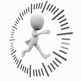 Running against time. Little 3d man running against or with time in a clock dial Stock Image