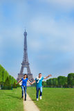 Running along the Champ de Mars Royalty Free Stock Photos