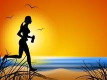 Free Running Along The Beach At Sunset Royalty Free Stock Images - 4542199