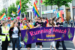 Running Amach on Dublin LGBTQ Pride Festival 2010 Royalty Free Stock Images