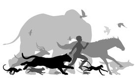Running with animals. Editable vector silhouettes of a man running together with various animals Stock Photo