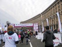 Running annual Wizz Air Kyiv city marathon. People running Wizz Air Kyiv city marathon, start/finish line, Oct 8,2017, Khreschatyk str, Kyiv, Ukraine Royalty Free Stock Photography