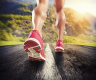 Running on asphalt Royalty Free Stock Images