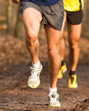 Running athlete. On a singletrail Royalty Free Stock Photography