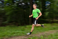 Running athlete. An athlete running through the forest Stock Image