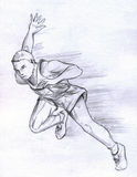 Running athlete man. Pencil drawing, sketch Royalty Free Stock Images