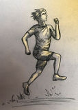 Running athlete man. Athlete man running outdoors in the morning. Pencil drawing, sketch Stock Image