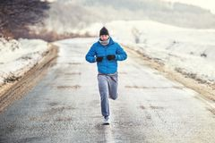 Running athlete man, working out and training for box Royalty Free Stock Photos