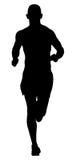 Running athlete men. Black silhouette of running athlete men marathon race Stock Image