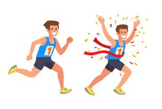 Running Athlete Sprinter man. In Flat Vector style Royalty Free Stock Image