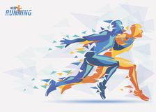 Running athletes, sport and competition background Stock Photos