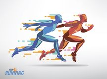 Running athletes vector symbol Stock Image
