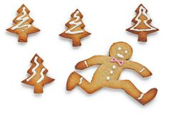 Running away,Gingerbread Man Stock Photos