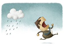 Running away from rain. Bussinesman running away from rain vector illustration
