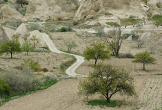 Running away road to Foothills of Cappadocia. Turkey Stock Photography