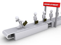 Running away from unemployment. 3d businessman is running on conveyor to avoid unemployment Stock Photo