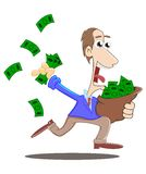 Running with a bag of money Stock Image
