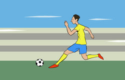 Running with the ball. This is an illustration on soccer theme Royalty Free Stock Image