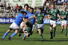 Running for the ball at RBS 6 Nations stock photos
