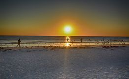Running On The Beach. Running with the sunset near Tampa Florida Royalty Free Stock Photos