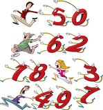 Running from Birthdate. Four different cartoon characters running from, or chasing their birthday age. (Example: first row shows woman running from 50). Each Stock Illustration