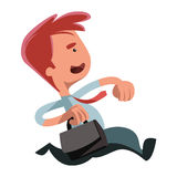 Running bisinessman  illustration cartoon character Royalty Free Stock Photo