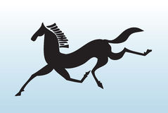 Running black horse. Silhouette of black horse running with green gradient background Royalty Free Stock Photo